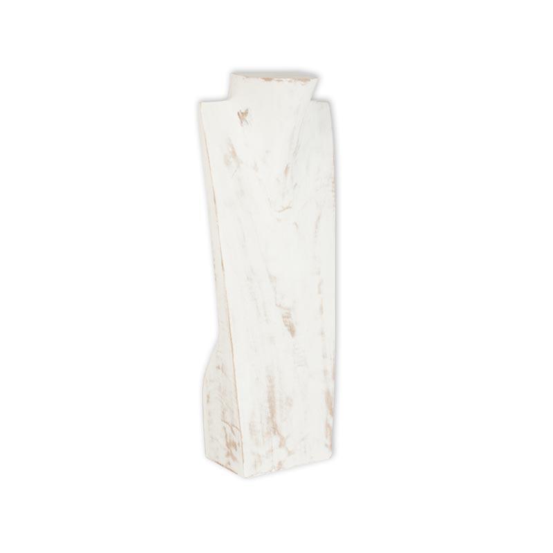 buste en bois blanc patin pour collier h 40 cm selfor paris. Black Bedroom Furniture Sets. Home Design Ideas