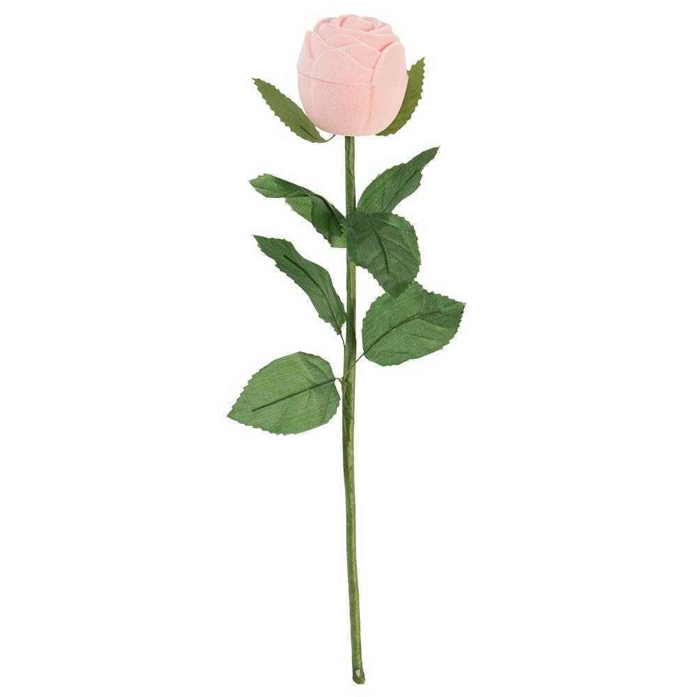Ecrin bague en forme de rose avec tige et feuilles vertes - Rose avec tige ...