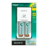 Chargeur pour 2 piles rechargeables multi-usages Sony, piles incluses