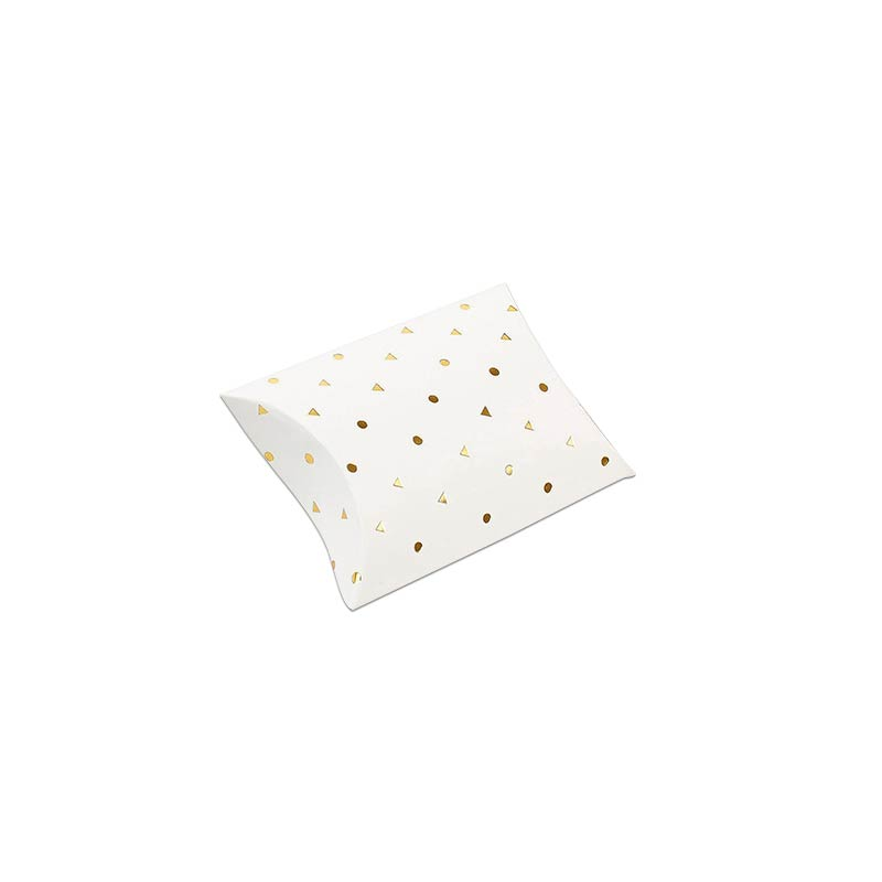 Berlingots carton blanc mat à pois/triangles - Dorure à chaud 350 g
