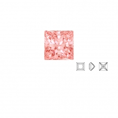 Pierres Oxyde de zirconium Swarovski - carré princesse, couleur Fancy Morganite
