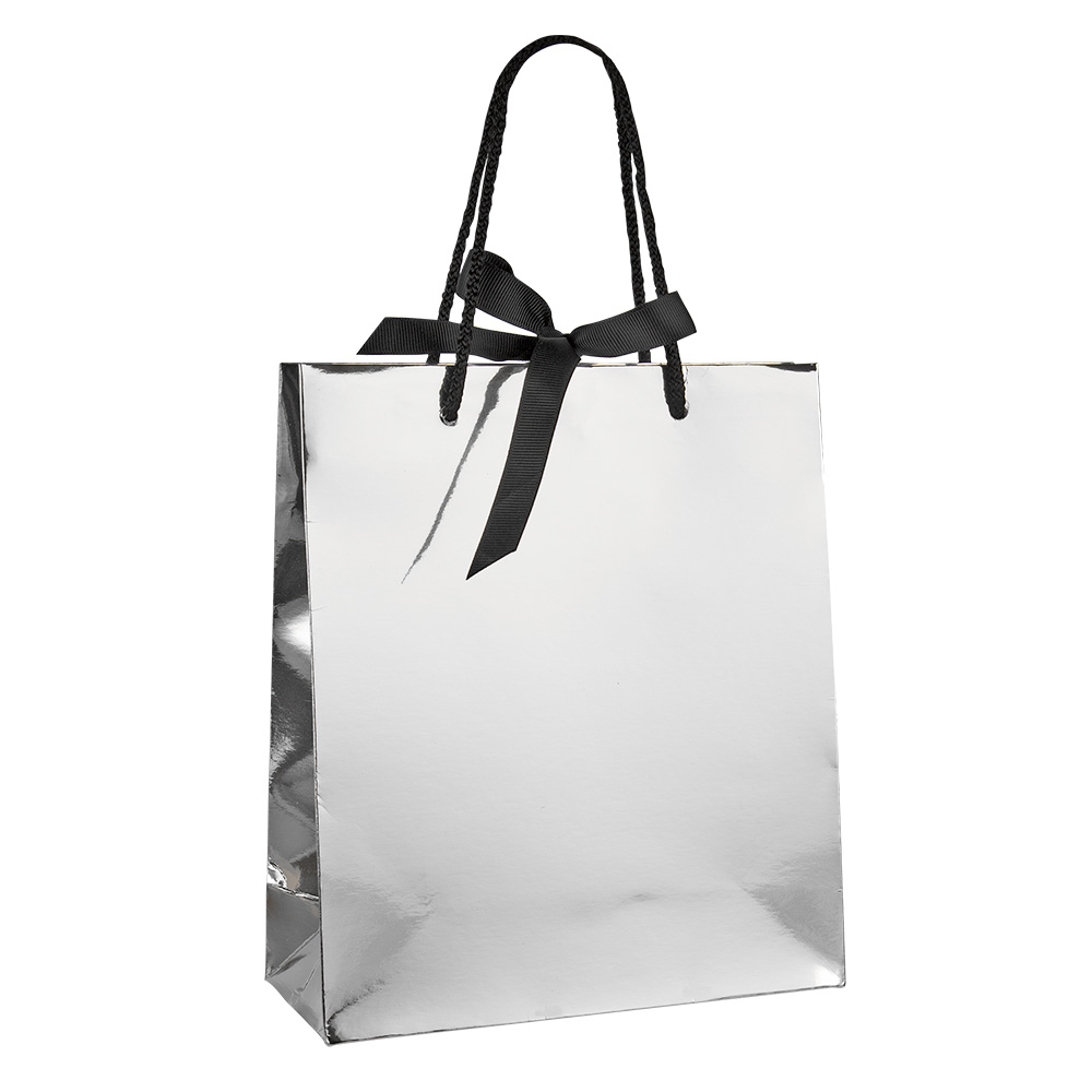 Mirror Effect Silver Paper Boutique Bags With Contrasting Black Rope Handles And Ribbon Fastener