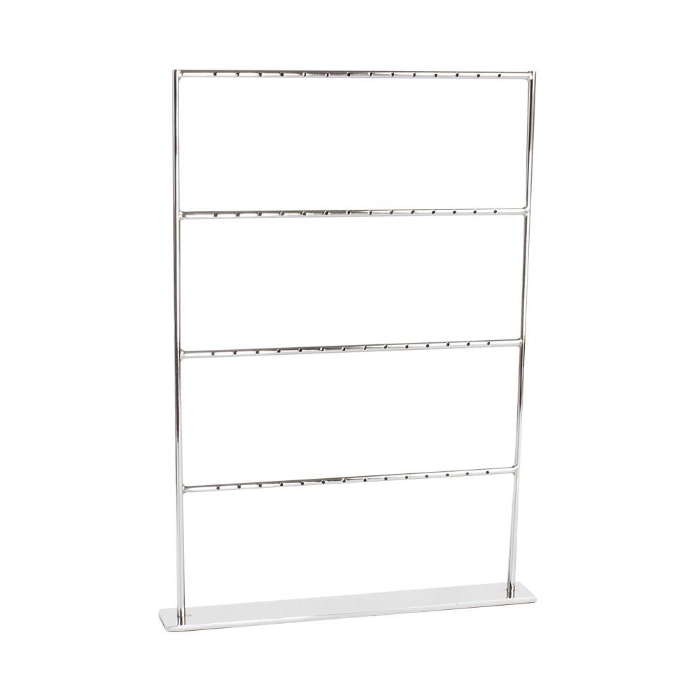 Modern Silver Coloured Metal Earring Display Stand With 4 Levels For 28 Pairs