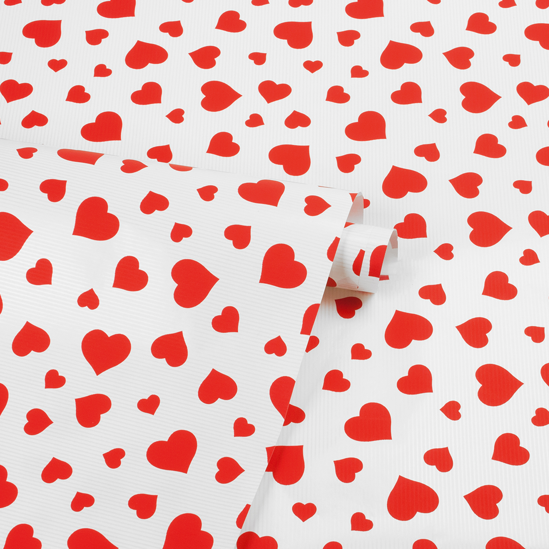 Papier cadeau kraft blanc coeurs rouges selfor paris - Papier cadeau kraft ...