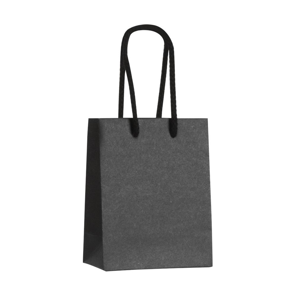 sac papier kraft luxe noir 11 4 6 4x14 6 cm poign es cordon coton 200g selfor paris. Black Bedroom Furniture Sets. Home Design Ideas