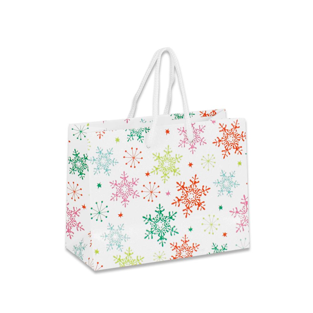 sacs papier mat flocons de neige sur papier paillet selfor paris. Black Bedroom Furniture Sets. Home Design Ideas