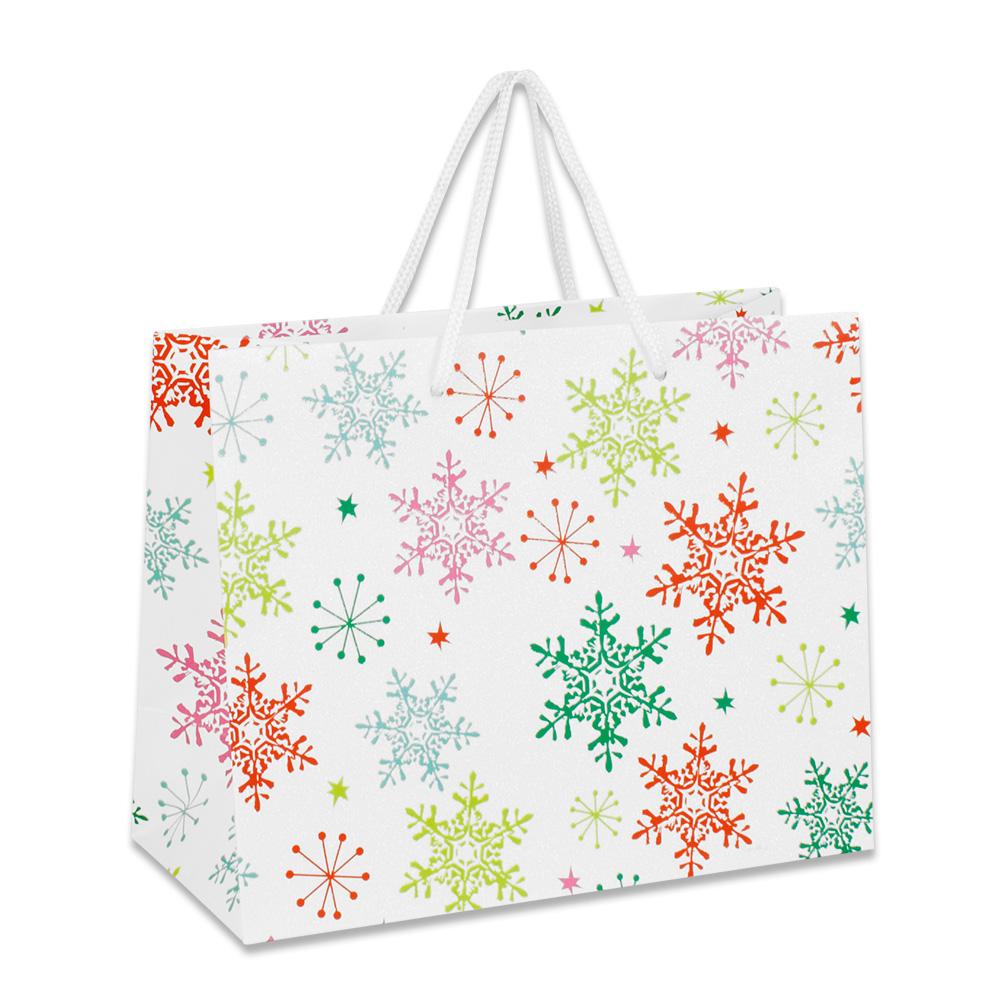 sacs papier mat flocons de neige sur papier paillet. Black Bedroom Furniture Sets. Home Design Ideas