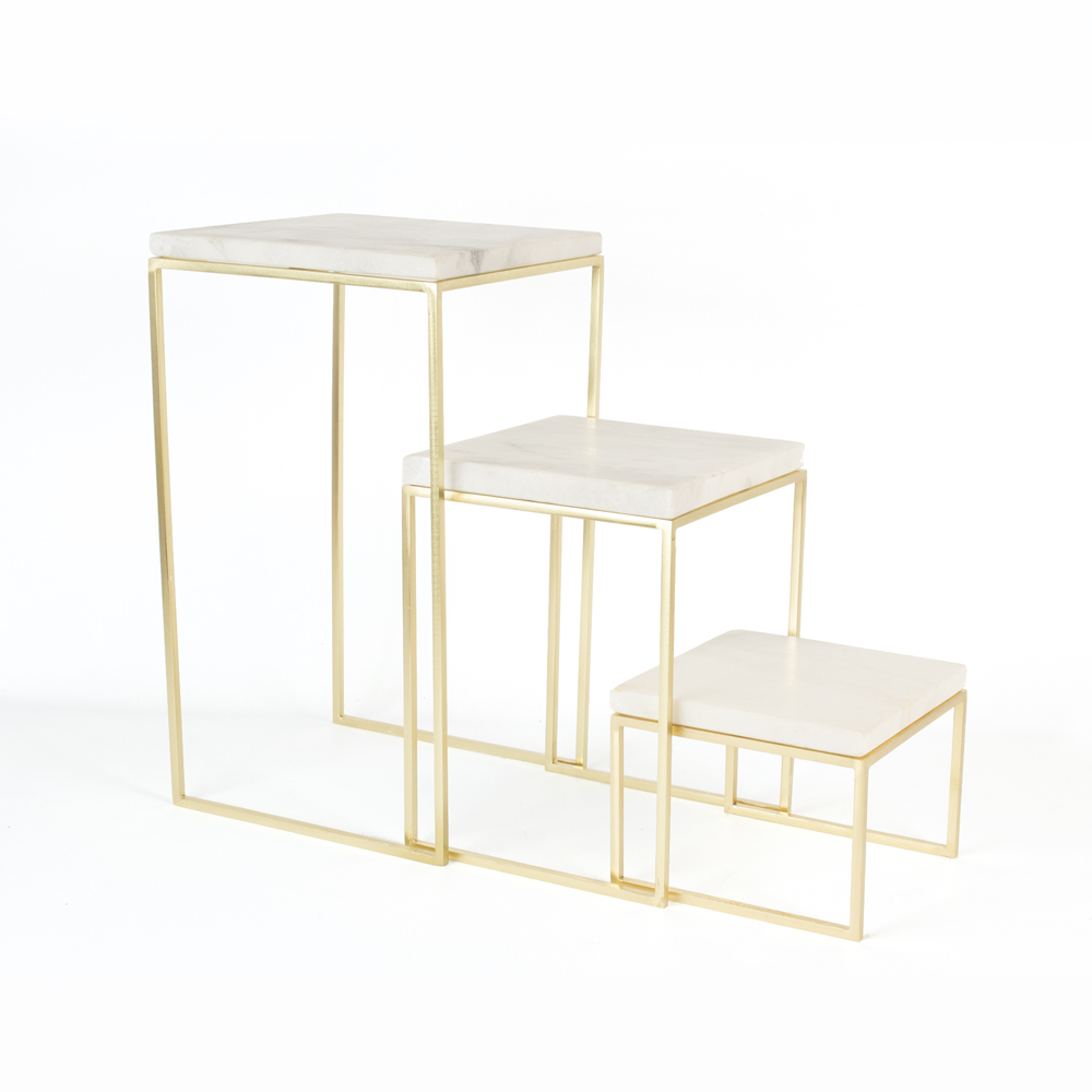 Set of 3 nesting tables white marble tops and gold coloured metal set of 3 nesting tables white marble tops and gold coloured metal legs watchthetrailerfo