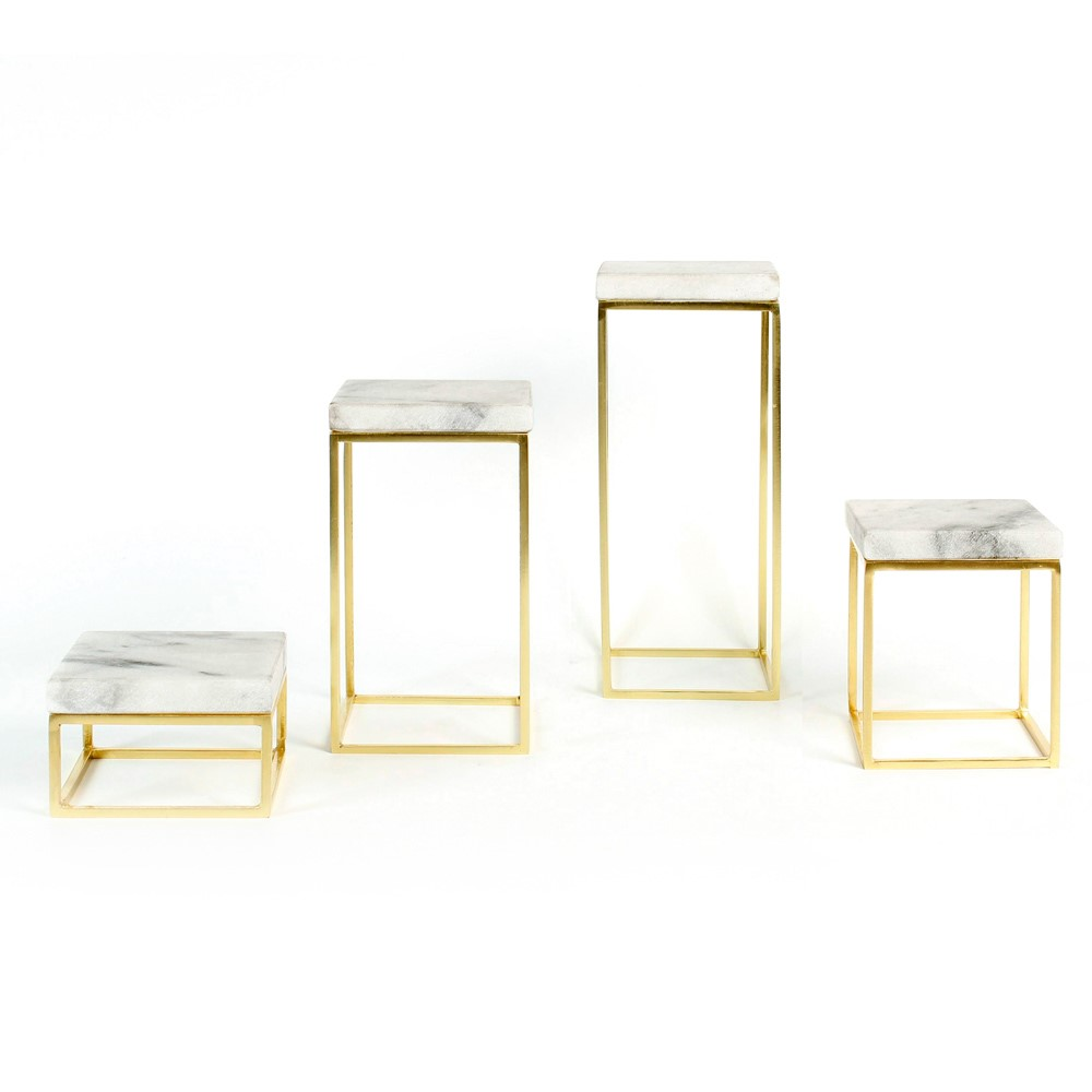 Set Of 4 Small Display Tables, White Marble Top And Gold Coloured Metal Legs