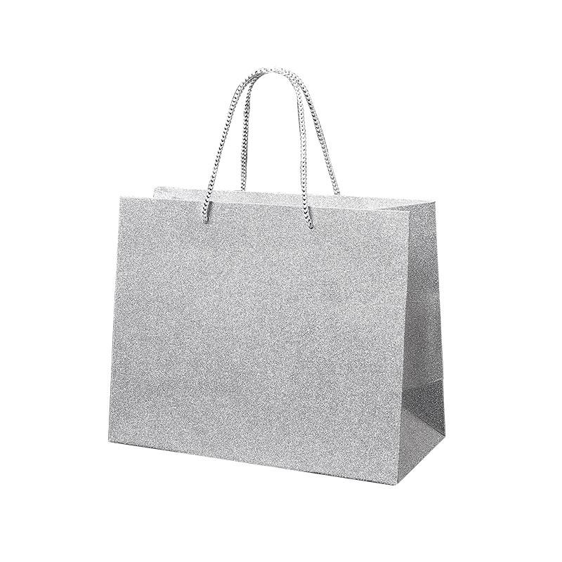 silver glitter paper carrier bags 190g selfor paris