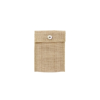 Hessian and natural cotton pouch with mother of pearl button fastener