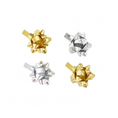 50 assorted gold and silver confetti bows, plain and hologram finish