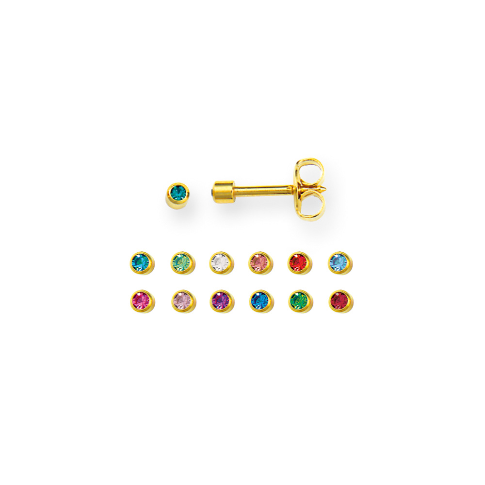 Assorted Caflon mini piercing studs in gold coloured stainless steel with bezel set crystal (x12)