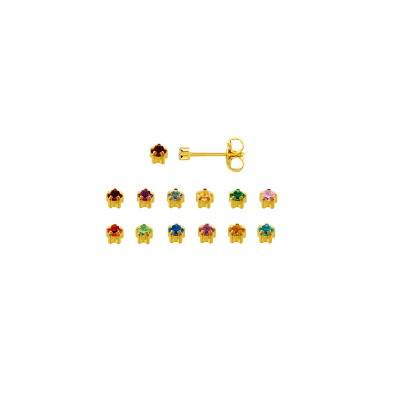 Assorted Caflon piercing studs in gold coloured stainless steel with claw-set crystal (x12)