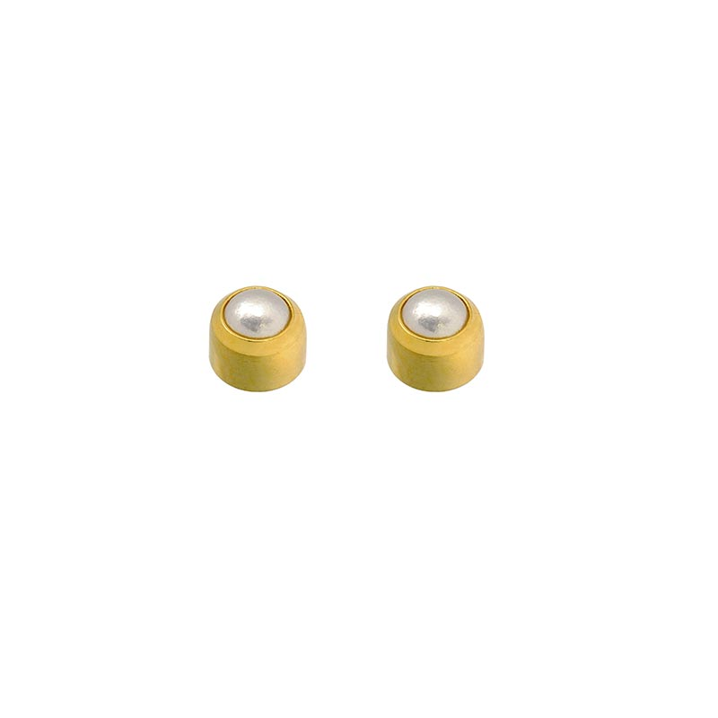 Caflon Blu cabochon piercing studs in steel gilded in fine gold with synthetic pearl