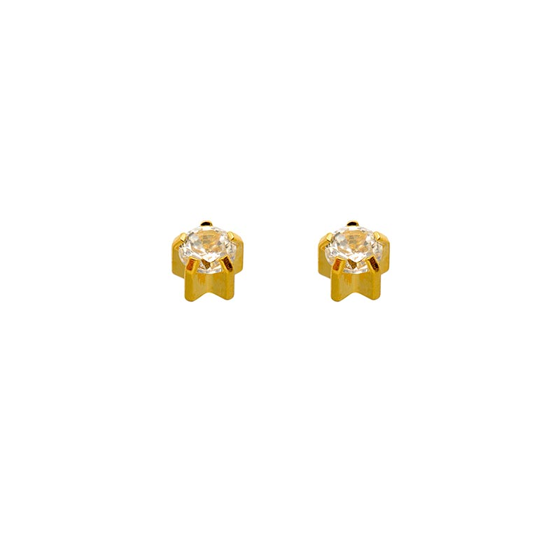 Caflon Blu ear piercing stud with claw set cubic zirconia in steel gilded in fine gold