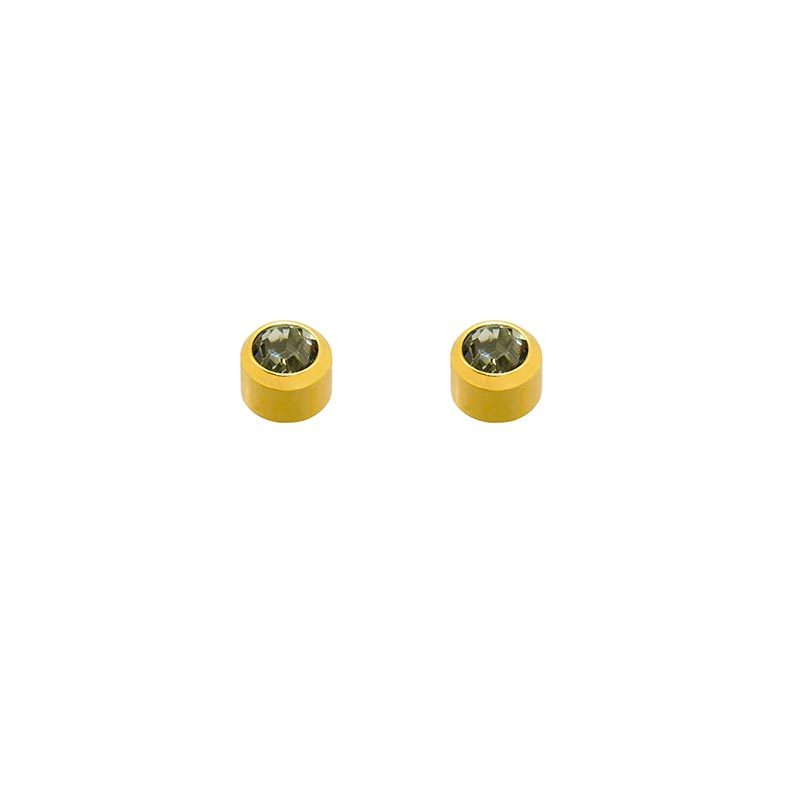 Caflon Blu gold coloured stainless steel ear piercing studs with black diamond coloured crystal