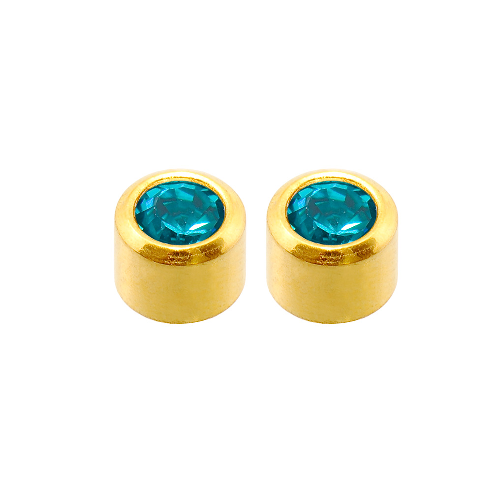 Caflon Blu gold coloured steel ear piercing studs with bezel set birthstone crystal