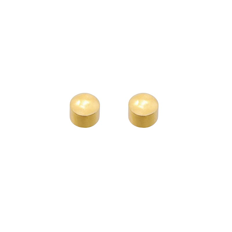Caflon Blu solid ear piercing studs in steel gilded with fine gold