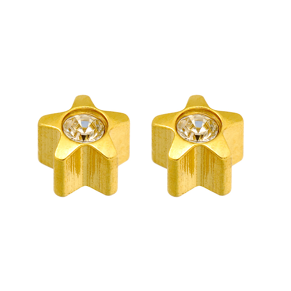 Caflon Blu star shaped ear piercing studs in steel gilded with fine gold with bezel set crystal