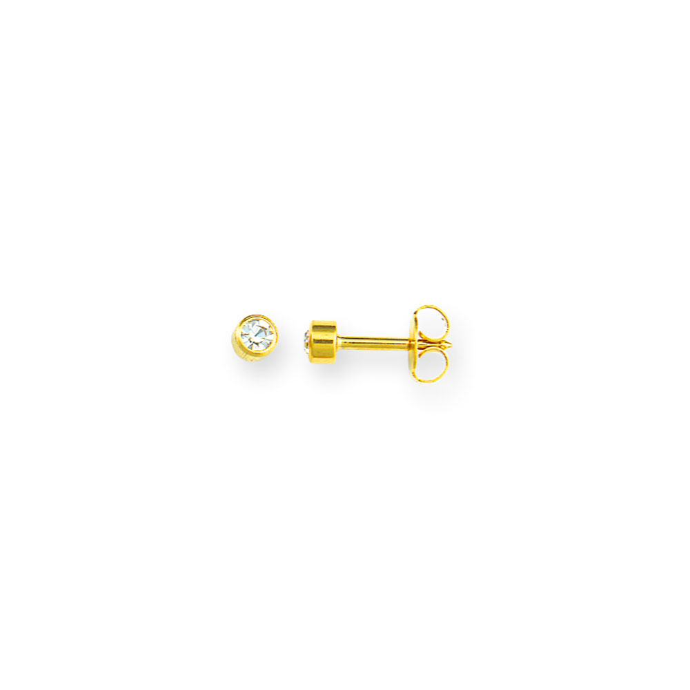 Caflon ear piercing studs, gold coloured stainless steel with bezel-set crystal (x12)