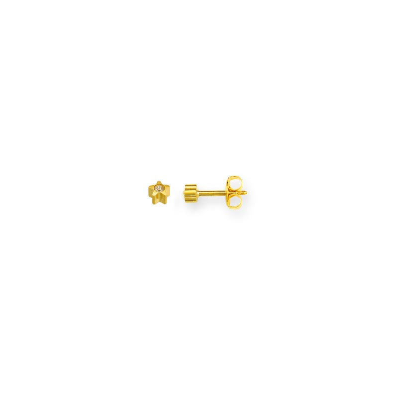 Caflon gold coloured stainless steel star piercing studs with bezel set crystal (x12)