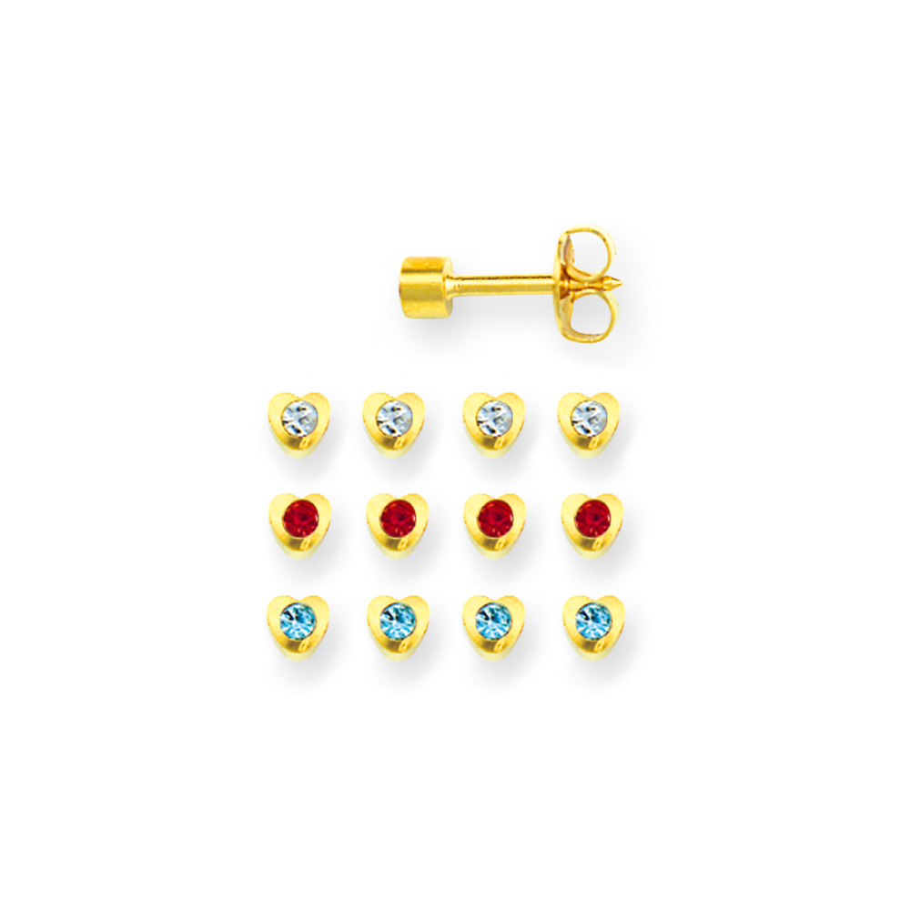 Caflon heart piercing studs in gold coloured stainless steel with bezel set coloured crystal (x12)
