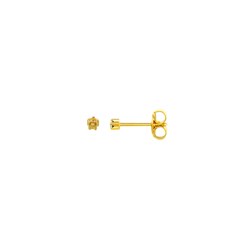 Caflon mini gold-coloured stainless steel ear piercing studs set with crystal