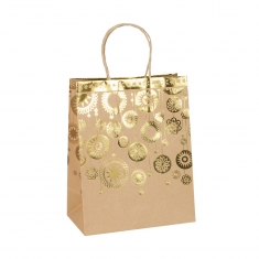 Christmas kraft paper carrier bag featuring golden baubles