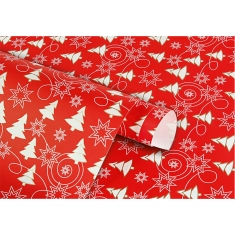 Christmas wrapping paper with white and gold Christmas trees and stars on red