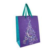 Colourful Christmas tree design paper carrier bag