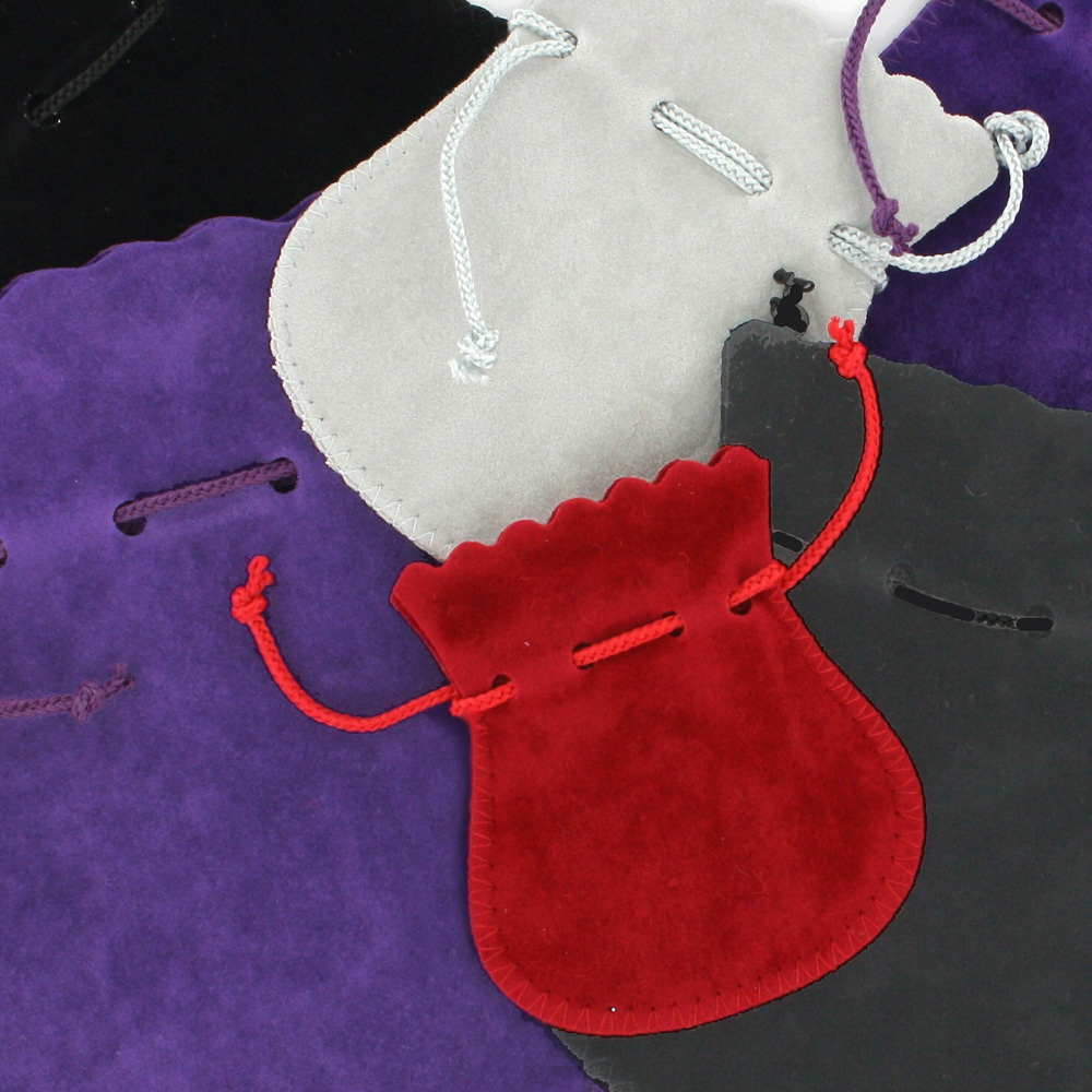 Cotton and viscose suede pouches with drawstring