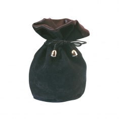 Cotton suede pouch with drawstring