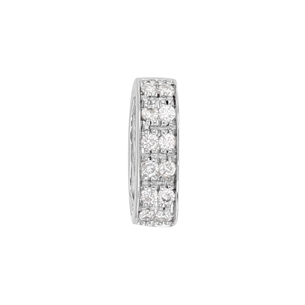 9ct white gold bail, studded with 2 rows of 6 diamonds (0.8ct) 10 x 3 mm