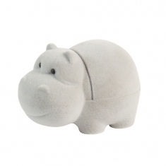 Cute grey velveteen hippopotamous ring box for infants