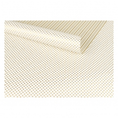 Double-sided polkadot and striped gold and white wrapping paper