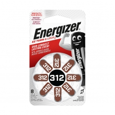 Energizer AC312 hearing aid batteries - pack of 8
