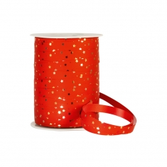 Festive red curling gift ribbon with metallic gold stars