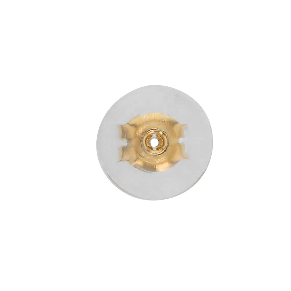 9ct gold ear scrolls with large silicone surround, 6.3mm