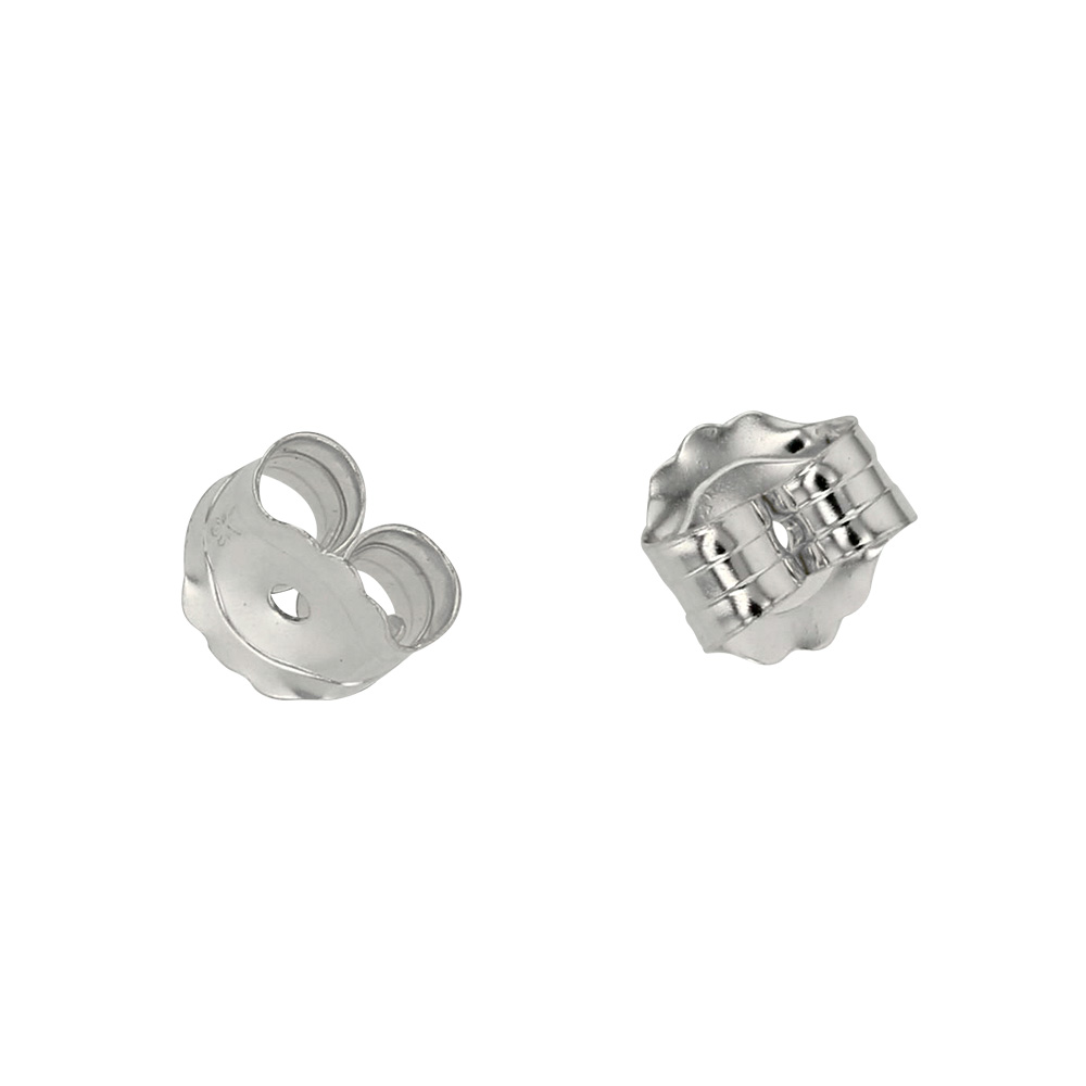 9ct white gold ear scrolls, for 0.64-0.76mm post, 5mm diametre