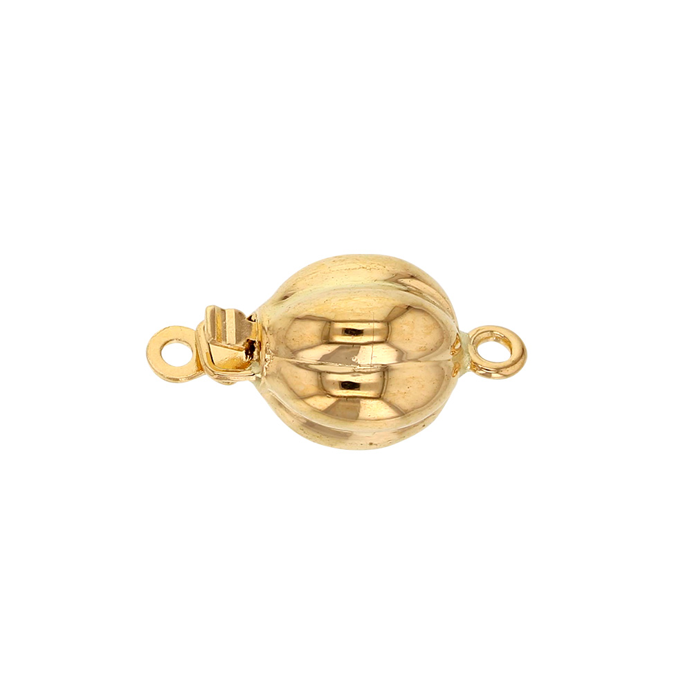 Fluted round 18ct gold safety catch, 8mm