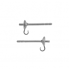 Gluable rhodium plated sterling silver ear pins