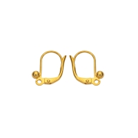 Gold coloured metal continental lever back ear wires