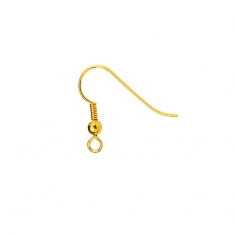 Gold coloured metal hook wire with bead
