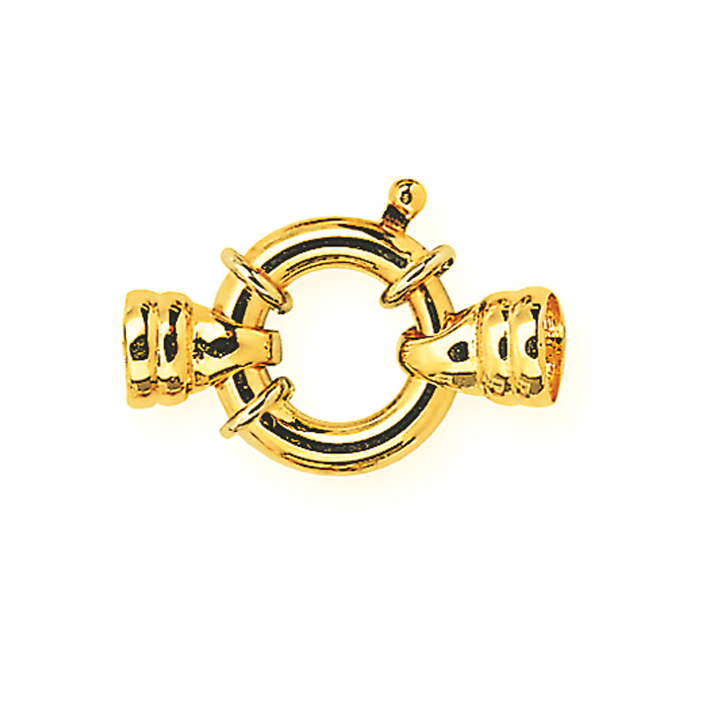 Gold plated bolt ring clasp for pearl and bead necklaces