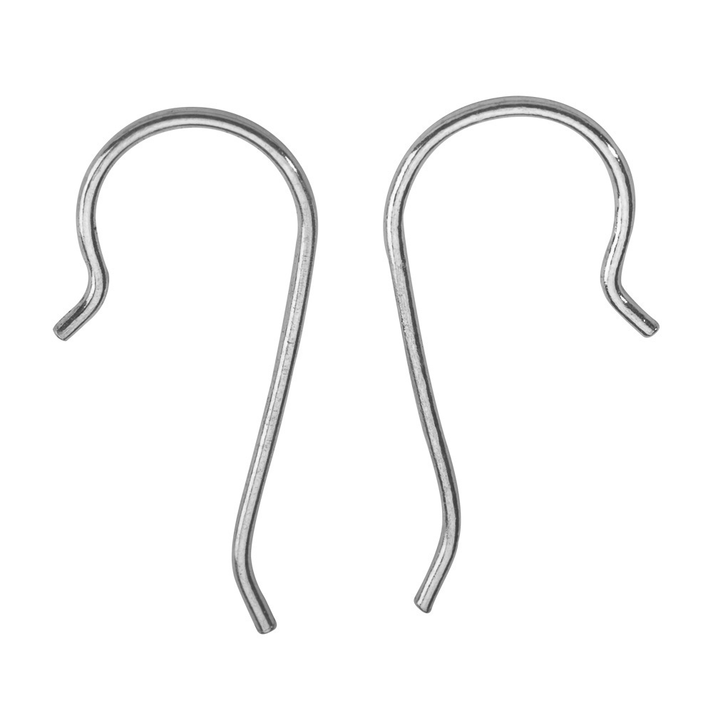 Rhodium plated sterling silver ear hooks