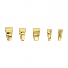 Set of 5 assorted 18ct gold bails, triangular form