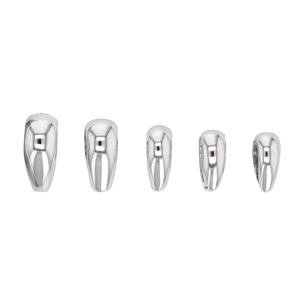Set of 5 assorted 18ct white gold bails - oval rounded form