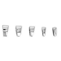 Set of 5 assorted 9ct white gold bails - triangular form