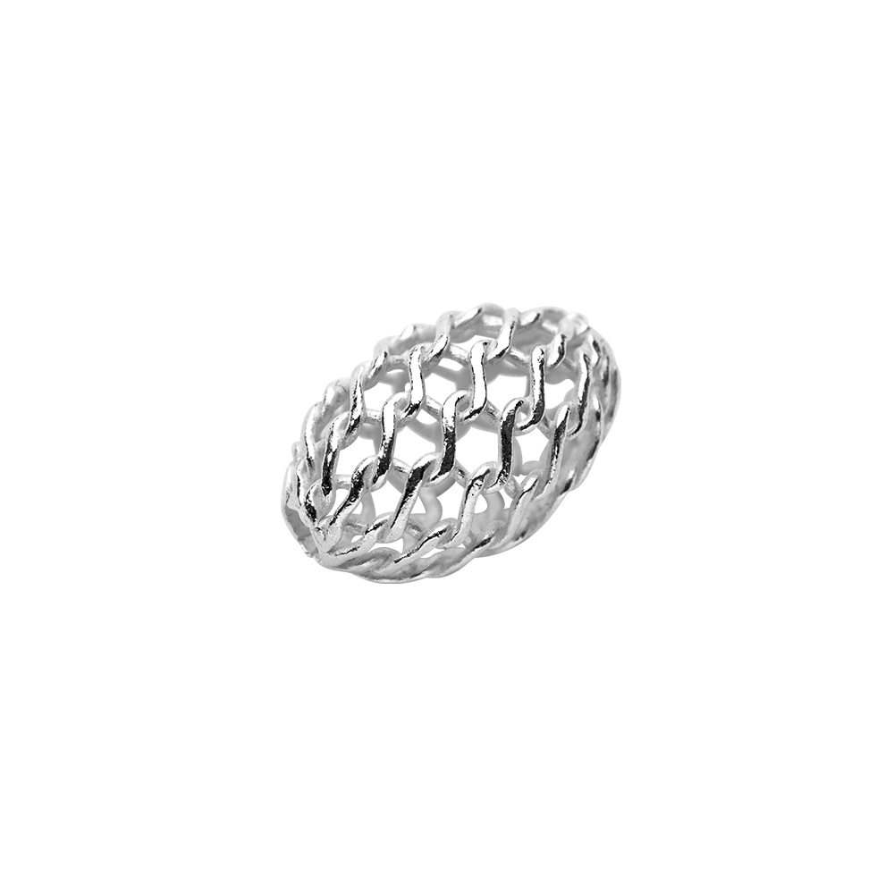 Sterling silver oval shaped filigree bead